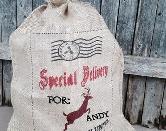 Christmas Santa sack- Personalized Burlap Santa bag- Stocking- North Pole Postal Service 18x24