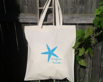 SALE------ 100 14x16 Cotton Tote Bags, Starfish,  Welcome To Paradise, Destination Wedding Favor, Hotel Bag