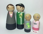 Custom Peg Doll Family of 4 * Hand Painted Dolls * Family Portrait