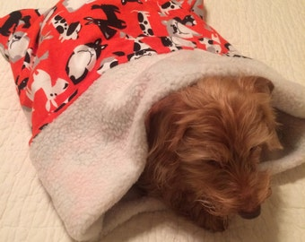 Small Dog Dachshund / Orange with Dogs Print Snuggle Sack / Sleeping Bag FREE SHIPPING within the US