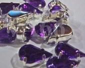 Teardrop Sew On Rhinestones Purple Tanzanite 20p 8mm x 13mm 4 hole Silver Montee Faceted Acylic Glass Look Rhinestone Beads sewing craft