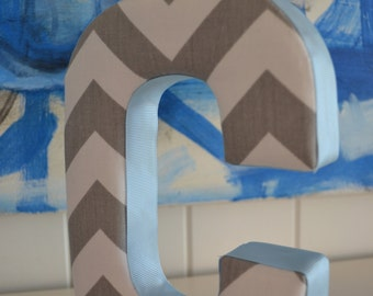 Fabric Letter Personalised Initial Name Wall Hanging in Chevron Grey & Blue - Letter C