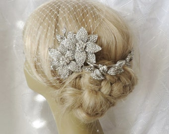 Bridal Hair Comb  and a Birdcage Veil (2 Items), bridal veil,Bridal Comb, Wedding Comb, Rhinestone Comb, Crystal Comb,  Pearl Hair Comb