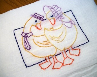 Dish towel Gaggle of Geese Design Dating Pair Flour Sack Towel Hand Embroidered Kitchen Towel