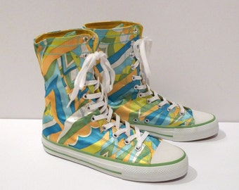 Psychedelic Print High Top Sneakers Vintage Dollhouse Mod Satin Finish Boots Blue Green Yellow Tennis Shoes Size 8.5  Abstract 1990s Techno
