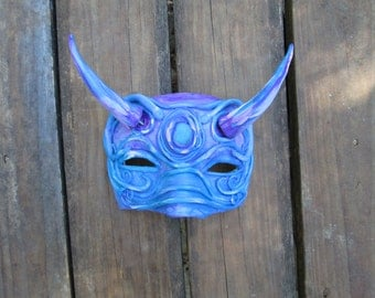 positionable horns, Halloween Costume, hand painted, one of a kind, warrior, purple and blue masquerade mask, half face
