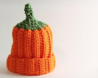 Crochet Pumpkin Hat, Pumpkin Prop, Newborn photography, halloween