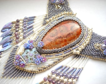 Bead Embroidery KIT  (Insruction and Materials) - Necklace  Statement Nipomo coral fossil  - Lavenders at Sunset