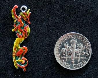 Retro vintage feathered dragon enameled sterling silver bracelet pendant charm