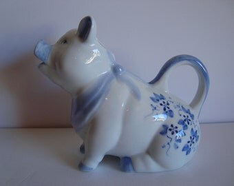 Blue and White Pig Pitcher