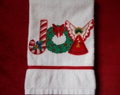 Christmas Hand Towel Bathroom or Kitchen JOY with Candy Canes, Wreaths and Angels