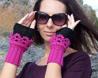 Fuchsia Black Cuffs, Fingerless gloves, Crochet, knit, Arm Wrist Warmers, Hot Pink, women, Winter Knit Fashion Accessories