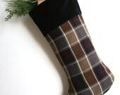 Brown/Black Plaid Wool Christmas Stocking - Man's Stocking - Traditional Stocking