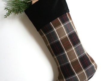 Brown/Black Plaid Wool Christmas Stocking - Man's Stocking - Traditional Stocking