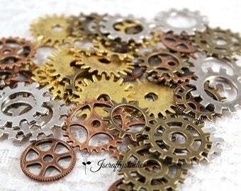 Huge Lot of 45 Steampunk Gears Cogs Discs for Assemblage Altered Art Mixed Media