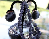 Smoky, Intense Beaded Necklace with Matching Earrings, 1980s