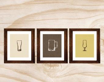 craft beer poster 3 printed 11x14 posters beer glasses