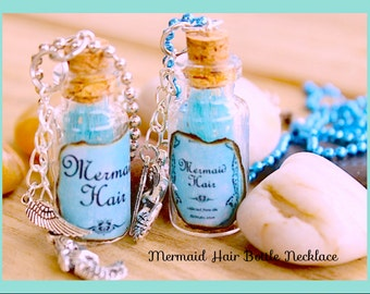 Mermaid Hair Bottle Necklace,  Glass vial 2ml bottle necklace By: Tranquilityy