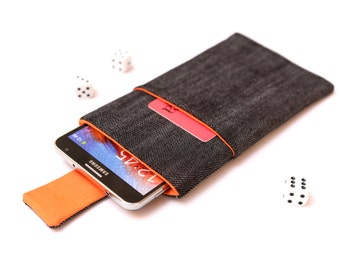 Galaxy Note 7, Note 5, Note Edge, Note 4, 3 sleeve case cover pouch handmade with magnetic closure dark jeans and orange with a pocket