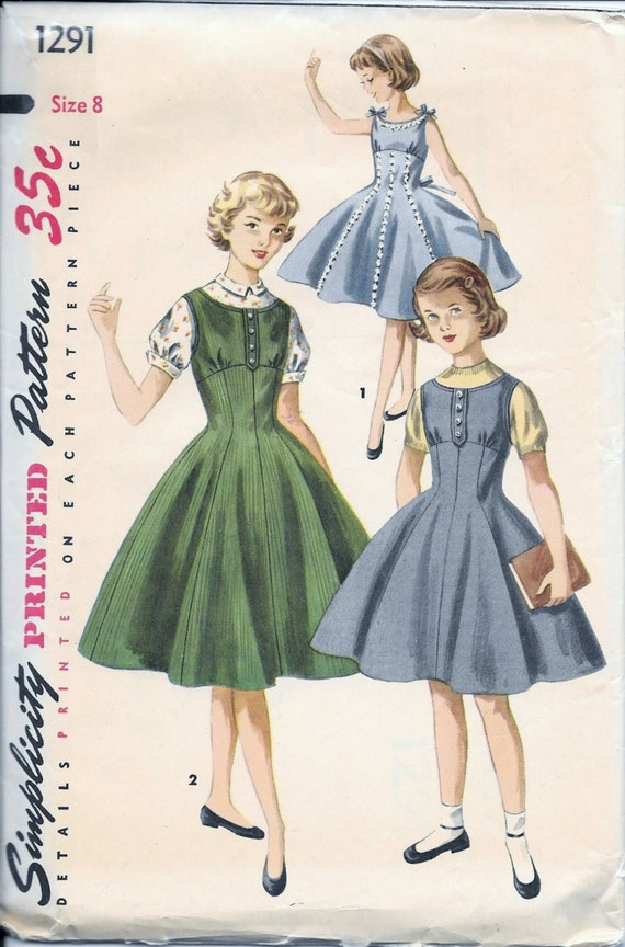 Vintage 1950s Simplicity 1291 Girls Dress Sewing Pattern Size