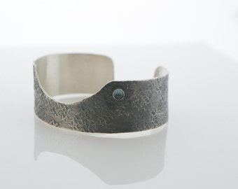 London Blue Topaz Hammered Sterling Silver Cuff Bracelet