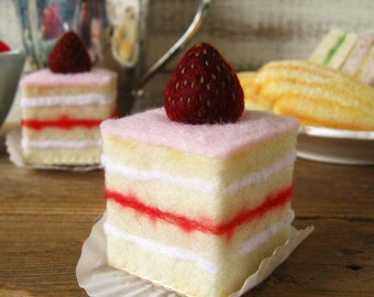 Felt Food Strawberry Petit Fours Tea Cakes