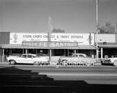 Santa Fe Restaurant - Wickenburg, AZ. 1950s. Print from an original 4x5 negative. Mid-century road trip. Vintage Arizona Decor.