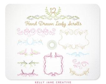 Leaf Vine Laurel Frame Clipart  | Wedding Graphics | Invitation Graphics | Chalkboard Graphics | Scroll Frame Clip Art