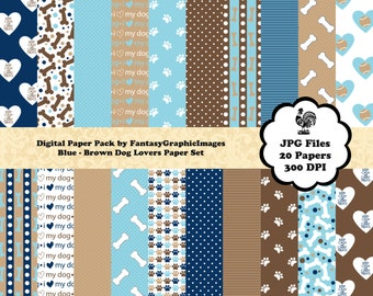 Puppy Dog Digital Paper Pack Blue Brown Dog Lovers Series 20 Papers Free Frame Clipart Clip Art Printable DIY Scrapbooking Instant Download
