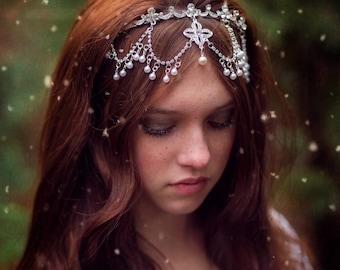 Rhinestone Pearls Bridal Headpiece Hair Ccessory Tieback Photo Prop Wedding Crown Halo