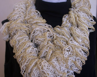 Gold and White Infinity Ruffled Scarf