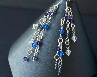 Long blue earrings. Sterling silver wire wrapped swarovski crystals dangly earrings. Eco friendly sterling silver earrings. Gift for her.