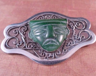 Vintage Taxco 980 Silver Carved Green Stone Brooch
