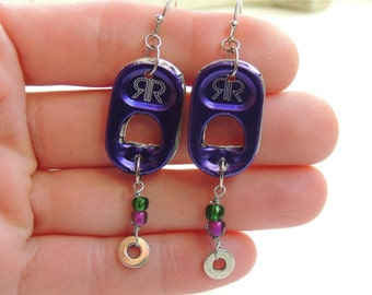 Energy Drink Earrings - Mardi Gras - SODA TAB EARRINGS - purple/green - for teens and adults - eco-friendly/upcycled jewelry - under 15