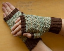 READY TO SHIP Grey-Green Hand Knitted Fingerless Cotton Gloves (Size Small/Medium)