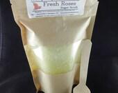FRESH ROSE Sugar Scrub with Spoon, 6 oz Exfoliating Scrub, Cut Roses Scented Scrub 6oz, Sunflower Oil, Avocado Oil, Olive Oil