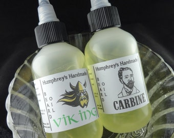 PICK ANY 2 Men's Beard Oils, Two Beard Conditioner, Choose Any Scents, 2 oz, Viking, Carbine, Ronin, Peppermint, Blacksmith, Fisherman