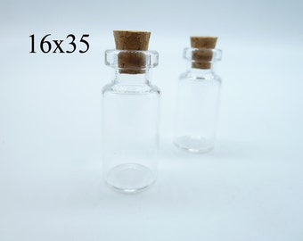 10pcs 16x35x7mm Clear Glass Tiny Wishing Drifting Bottle Vials Pendants With Corks/Free EyeHook Charm Pendant c4445