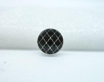 10pcs 12mm Handmade Photo Glass Cabochons (Black Plum Grid) GB70-35