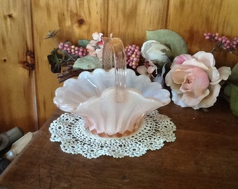 Mikasa Basket Crystal Pink & White Opalescent Gorgeous
