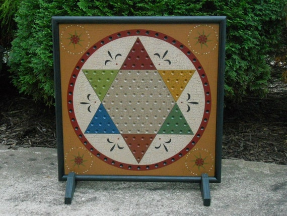 Primitive Wood Chinese Checkers Game Board Folk Art Gameboard