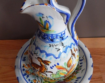 Vintage Hand Painted Spanish Seville Monteria Pottery