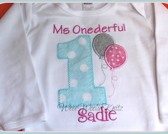 Girls 1st Birthday- T Shirt -Bib -Personalized- Embroidered- Applique First Boys