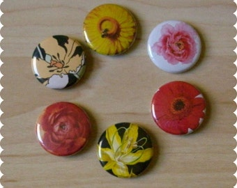 Flower Pins, Magnets, or Thumb Tacks - Set of 6 - Home, Office, Desk, Floral, Garden, Nature
