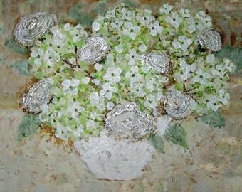 hydrangea painting, Impressionism Painting Hydrangea, Monet like painting, Cabbage Roses -wall art, white hydrangea