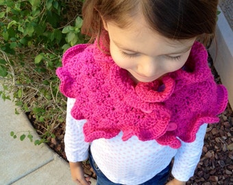 Ruffle Edge Scarf in Hot Pink Available in Three Sizes/Toddler/Child/Adult Scarf- MADE TO ORDER