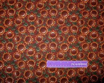 Harvest Sunflower Fall Autumn Flower Polka Dots Cotton Fabric By The Half Yard