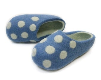 Felted Wool Slippers for Everyone.Light Bluish  with White inside and White Polka Dots.