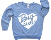 Big Sister Heart Shirt -  Baby Announcement Tee - Light Long Sleeve Pullover - Kids Big Sister Tee Shirt - Girls Clothing - Girls T Shirt