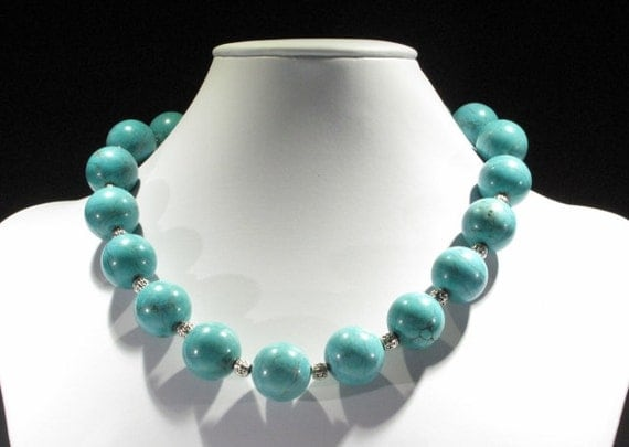 shorter necklace turquoise colored gemstone by
